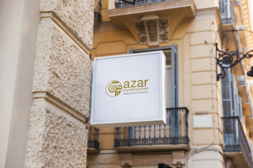 azar construction sign mockup
