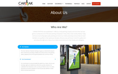 cakmakpainting.com about us page